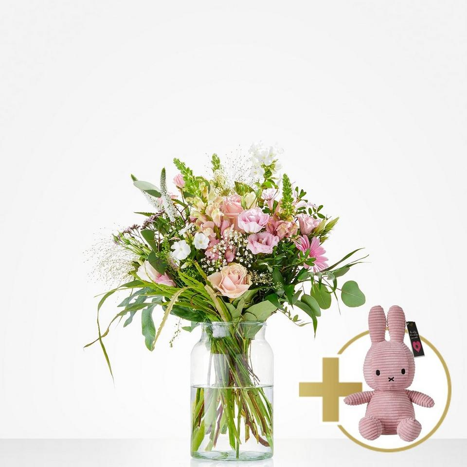 Image 1 of 1 of Combi Bouquet: Welcome little girl; including pink Niffy for €20,-