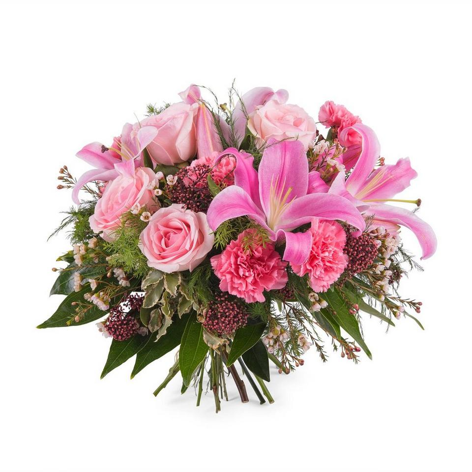 Image 1 of 1 of Mixed bouquet with roses and lilies