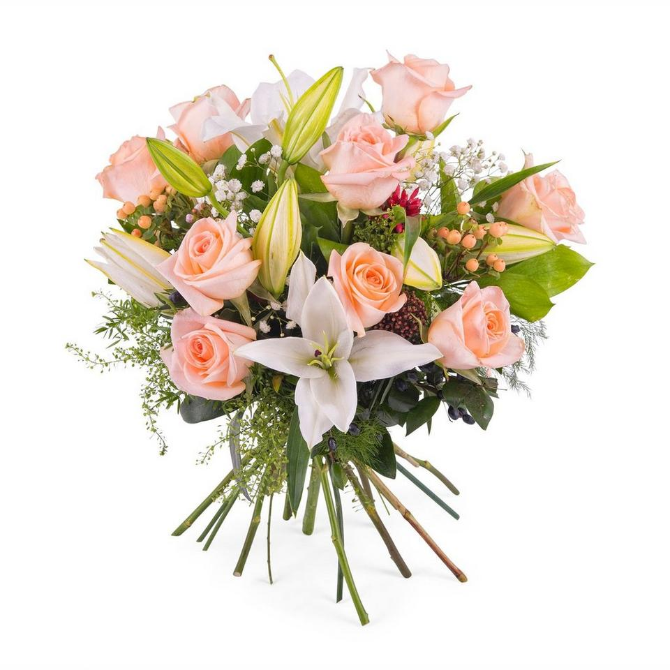 Image 1 of 1 of Arrangement of Roses and Lilies