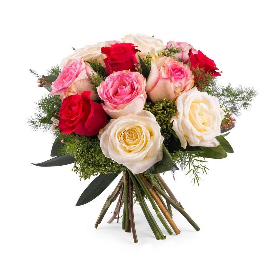 Image 1 of 1 of 12 Short-stemmed Multicoloured Roses